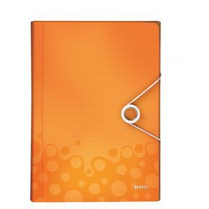 Aktovka plastová s priehradkami Leitz WOW metalická oranžová