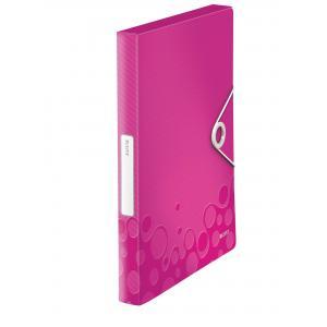 Plastový box s gumičkou Leitz WOW metalický ružový