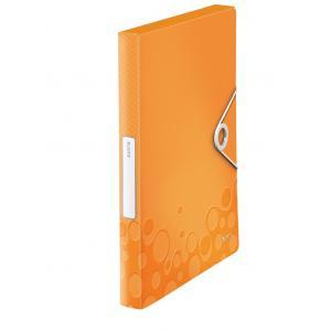 Plastový box s gumičkou Leitz WOW metalický oranžový