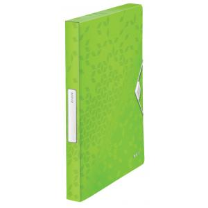 Plastový box s gumičkou Leitz WOW metalicky zelený