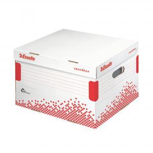 Archívna škatuľa Esselte Speedbox M so sklápacím vekom biela/červená
