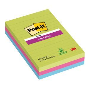 Bloček  Post-it Super Sticky 102x152 linajkový mix farieb