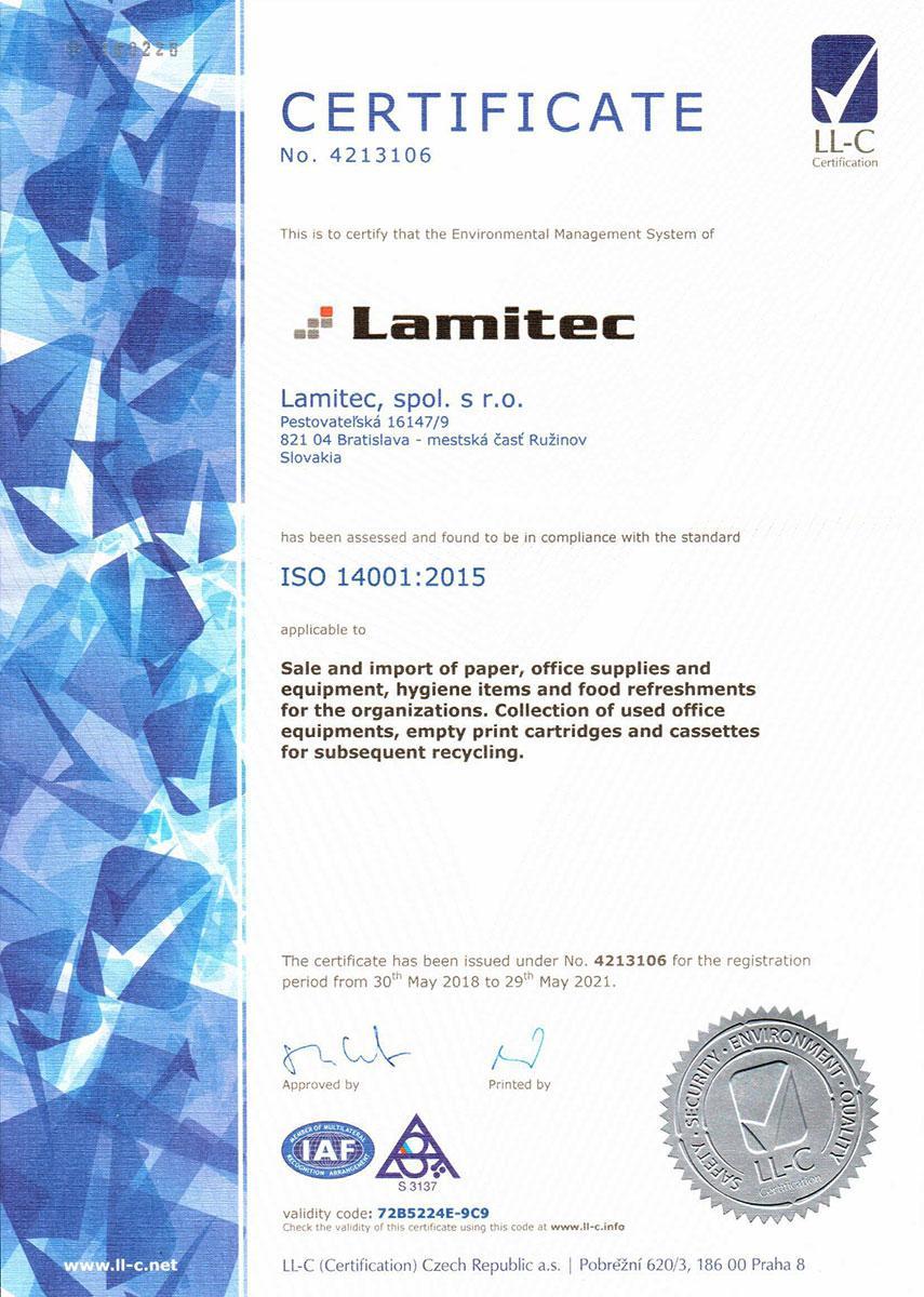 Certifikát ISO 14001:12004 EN