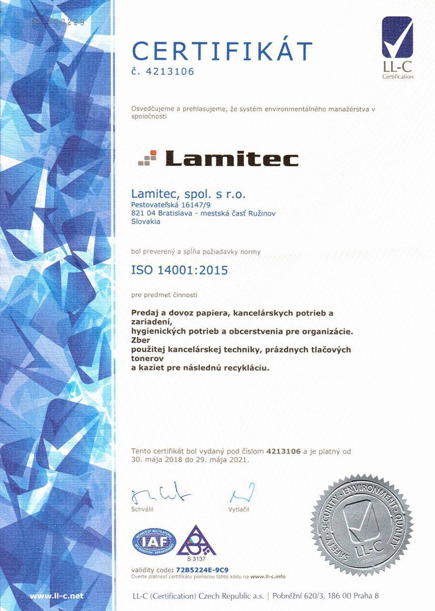 Certifikát ISO 14001:12004 SK