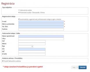 1. Nová registrácia