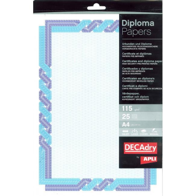 Certifikačný papier modro-tyrkysový 115g, 25 ks