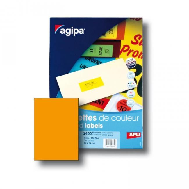 Etikety univerzálne fluo.oranžové A4