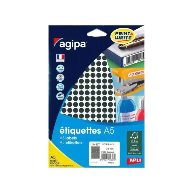 Etikety A5 8 mm čierne