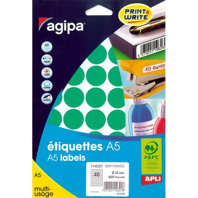 Etikety A5 24 mm zelené