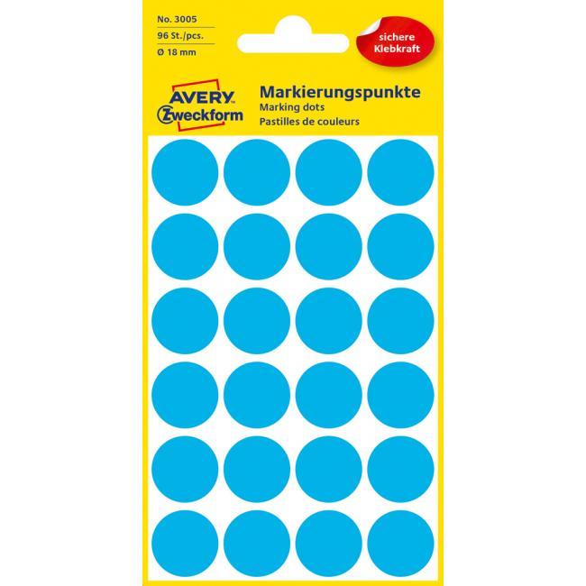 Etikety Avery kruhové 18 mm, modré