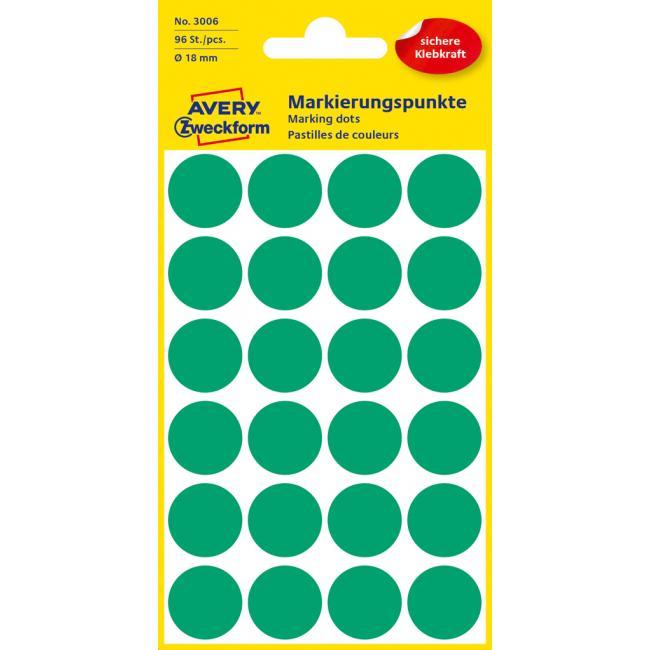 Etikety Avery kruhové 18 mm, zelené