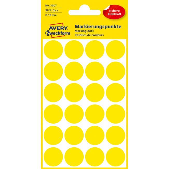 Etikety Avery kruhové 18 mm, žlté