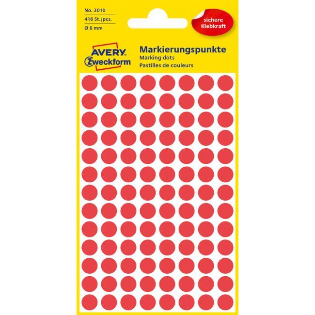 Etikety Avery kruhové 8 mm, červené