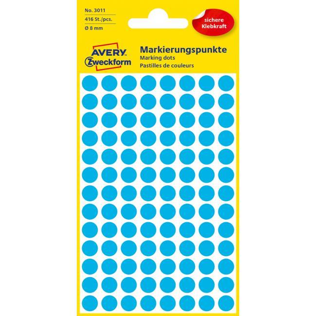 Etikety Avery kruhové 8 mm, modré