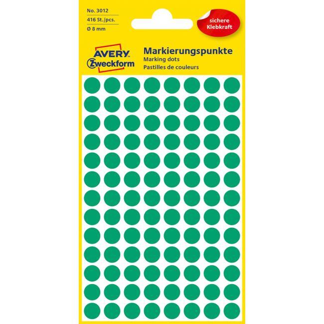 Etikety Avery kruhové 8 mm, zelené