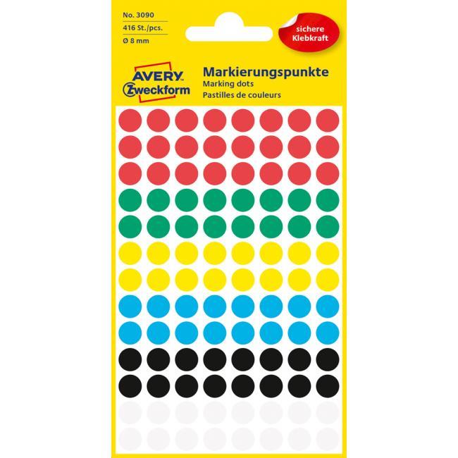 Etikety Avery kruhové 8 mm, mix farieb
