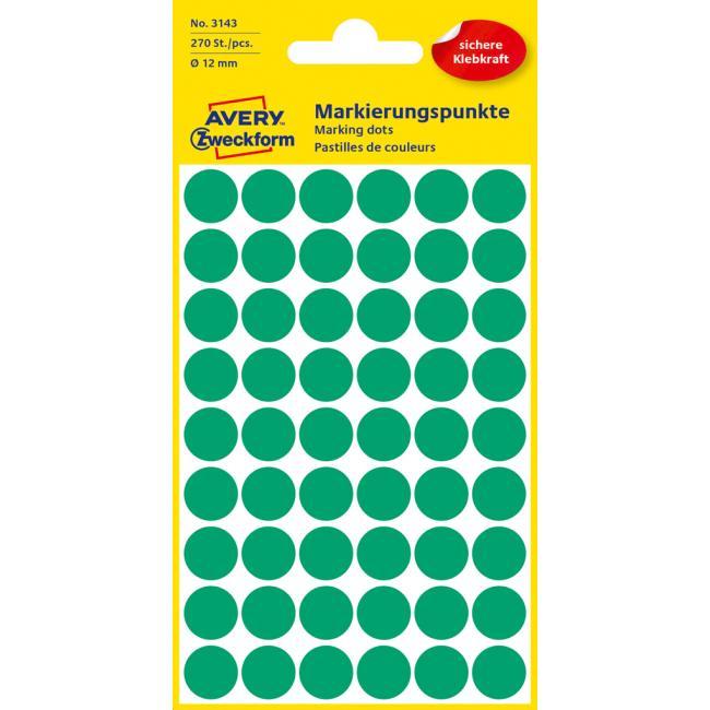 Etikety Avery kruhové 12 mm, zelené