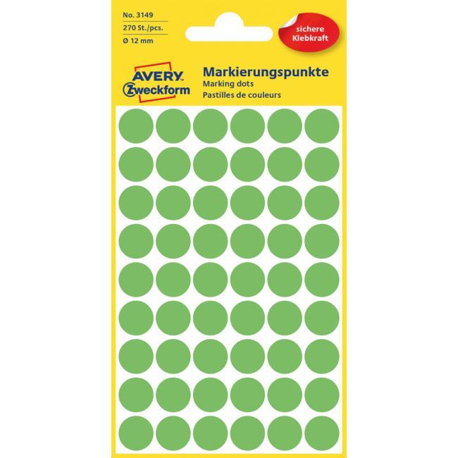 Etikety Avery kruhové 12 mm, neónovo zelené