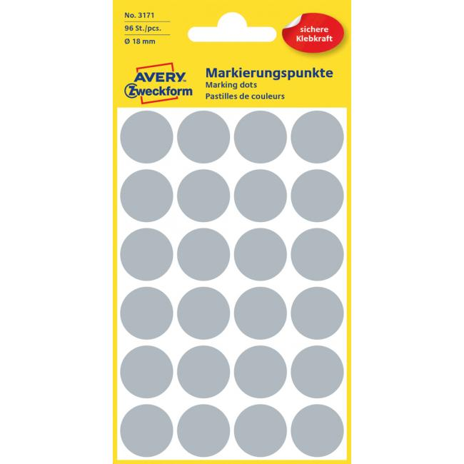 Etikety Avery kruhové 18 mm, sivé