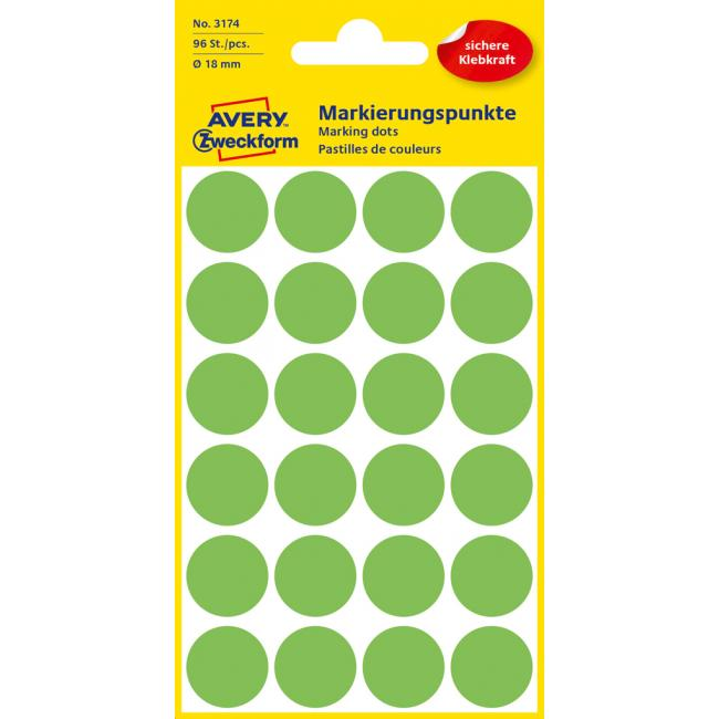 Etikety Avery kruhové 18 mm, neónovo zelené