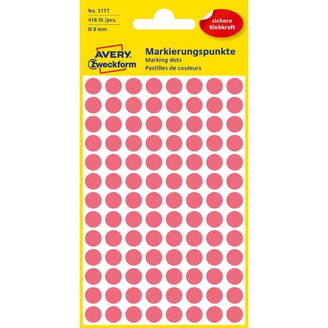 Etikety Avery kruhové 8 mm, neónovo červené