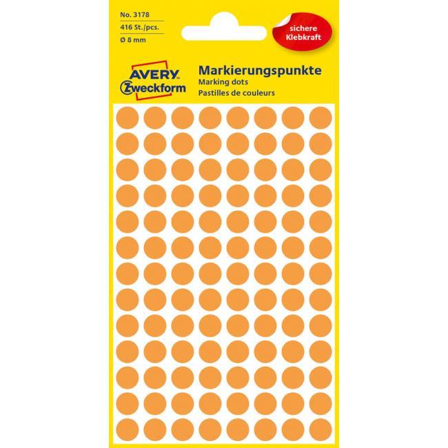 Etikety Avery kruhové 8 mm, neónovo oranžové