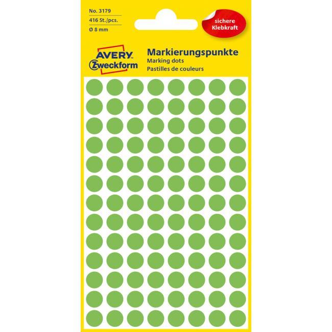 Etikety Avery kruhové 8 mm, neónovo zelené