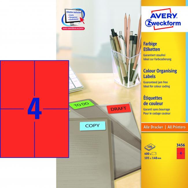 Etikety farebné 105 x 148 mm Avery A4 červené, 100 listov