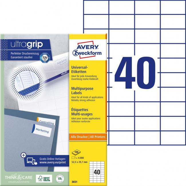 Etikety univerzálne 52,5 x 29,7 mm Avery A4, 100 listov