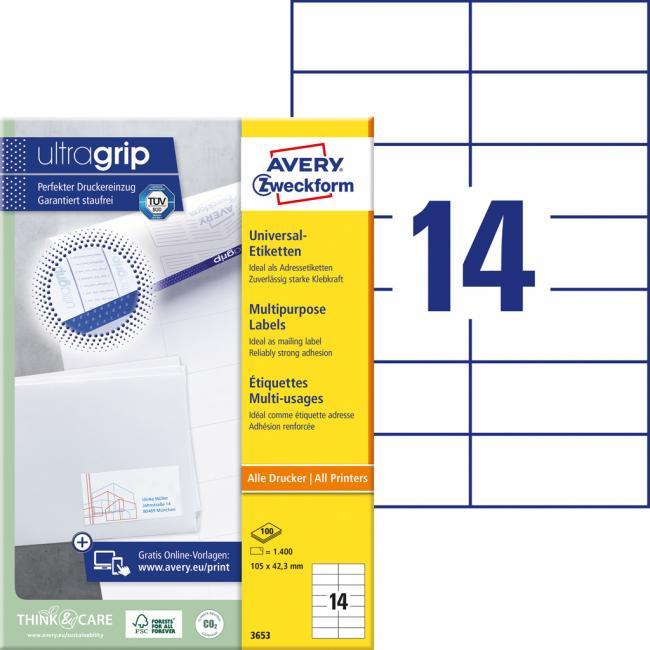 Etikety univerzálne 105 x 42,3 mm Avery A4, 100 listov