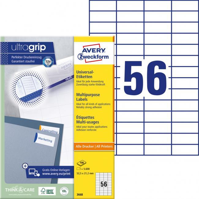 Etikety univerzálne 52,5 x 21,2 mm Avery A4, 100 listov