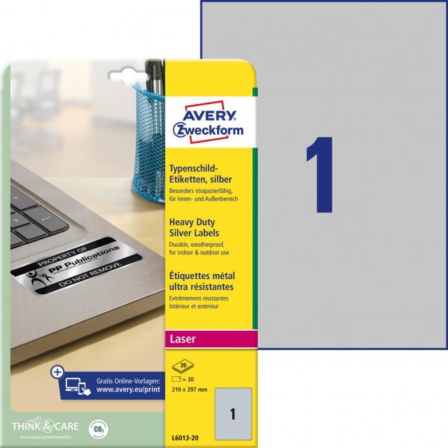 Etikety Avery 210 x 297 mm, polyesterové strieborné