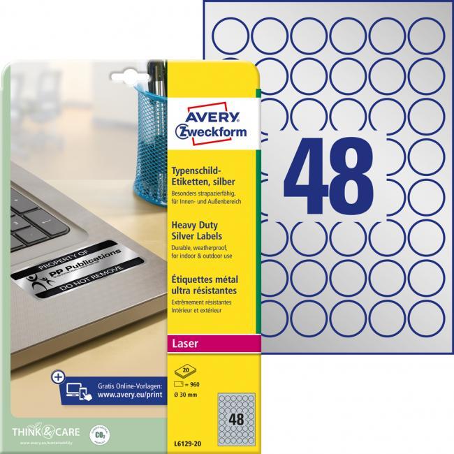 Etikety Avery priem. 30 mm, polyesterové strieborné