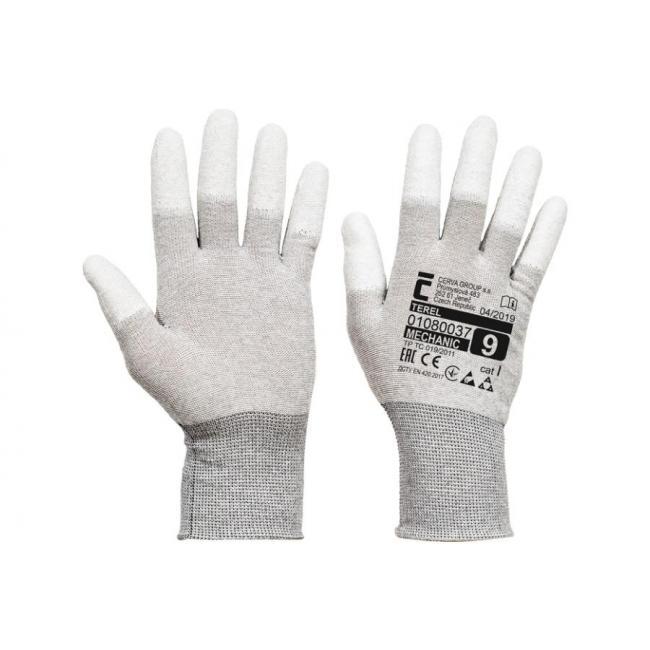 Rukavice pletené, antistatické, bezšvové, nylonové TEREL, veľ. 6/XS