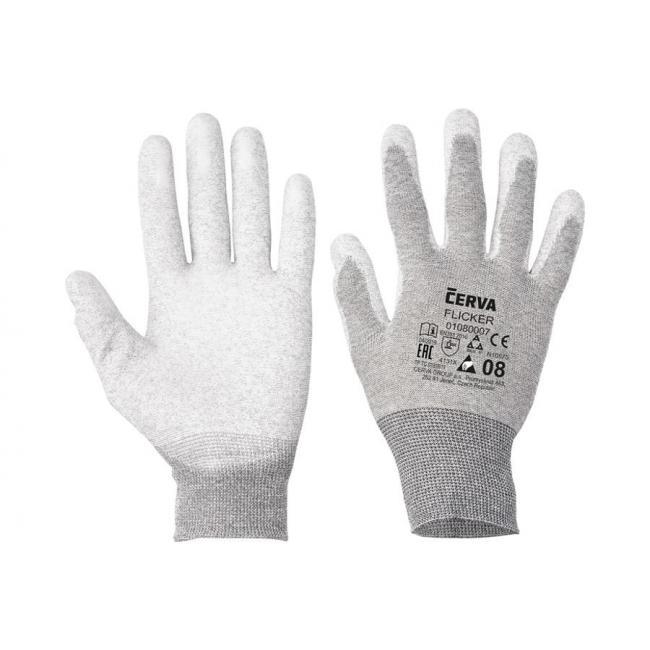 Rukavice nylonové, bezšvové, pletené FLICKER, veľ. 6/XS