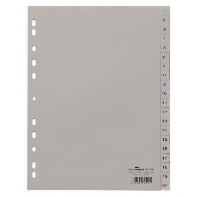 Plastový rozraďovač DURABLE 1-20 sivý