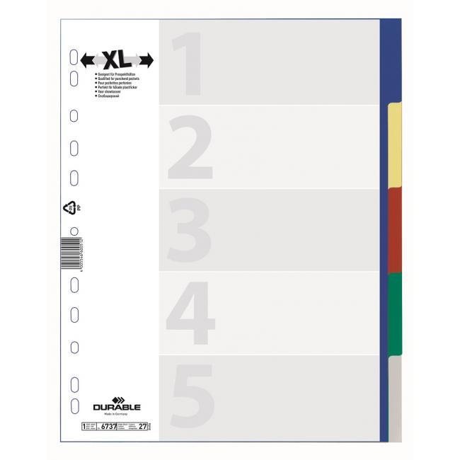 Plastový rozraďovač DURABLE 5-dielny maxi farebný