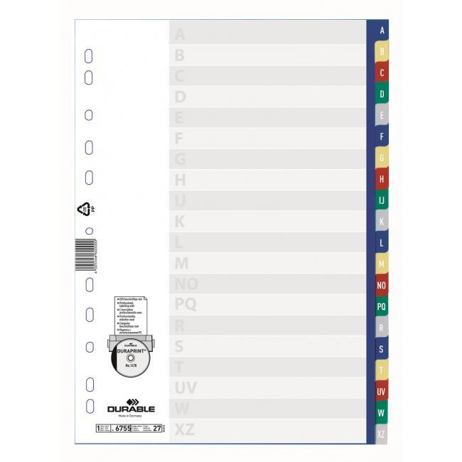 Plastový rozraďovač DURABLE A-Z farebný