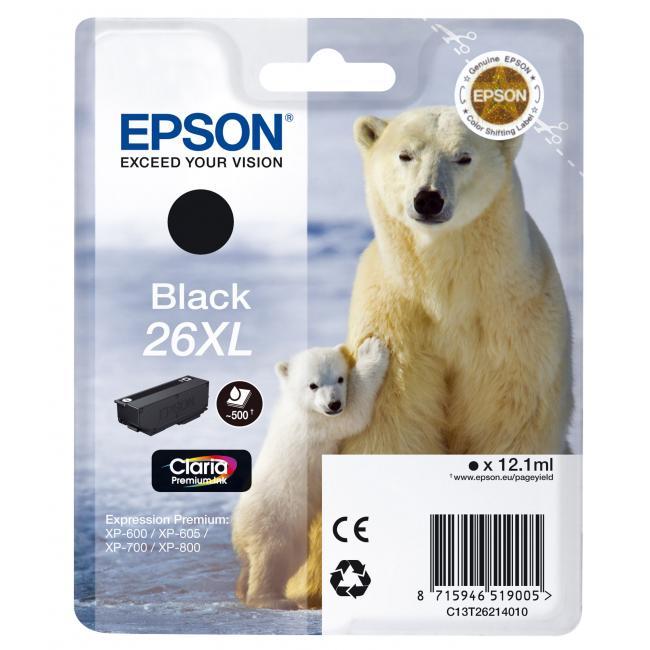 Atramentová náplň Epson C13T262140 black T2621 26XL pre XP-600/700 (12,2 ml)
