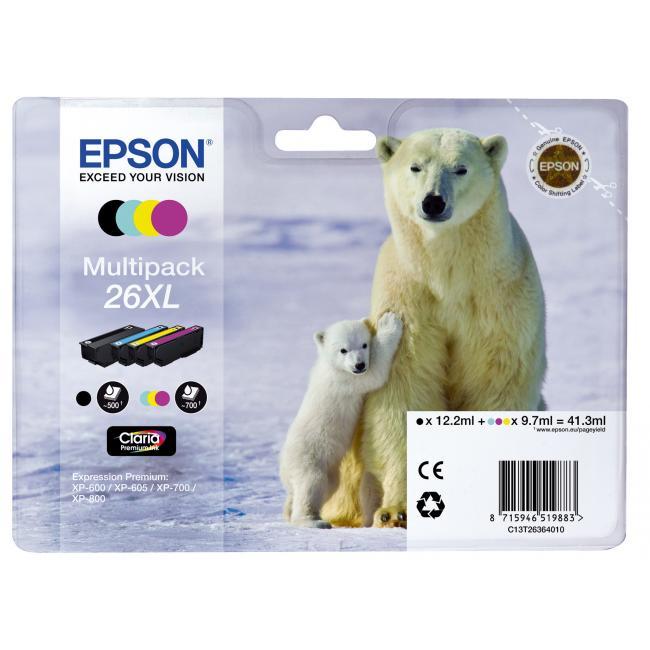 Atramentová náplň Epson C13T263640 CMYK multipack 26XL Claria pre XP-600/700 (3x9,7/12,2ml)