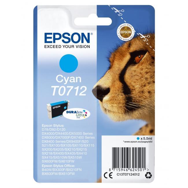 Atramentová náplň Epson T07124011 cyan pre D78/DX4000/4050/5000/5050/6000 (5,5 ml)