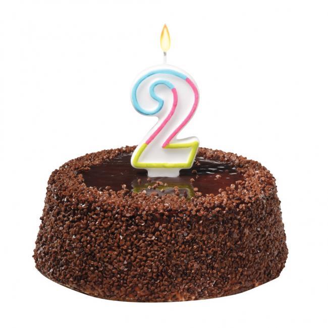 Tortová sviečka číslovka 2