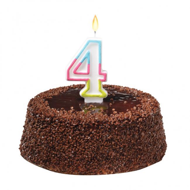 Tortová sviečka číslovka 4