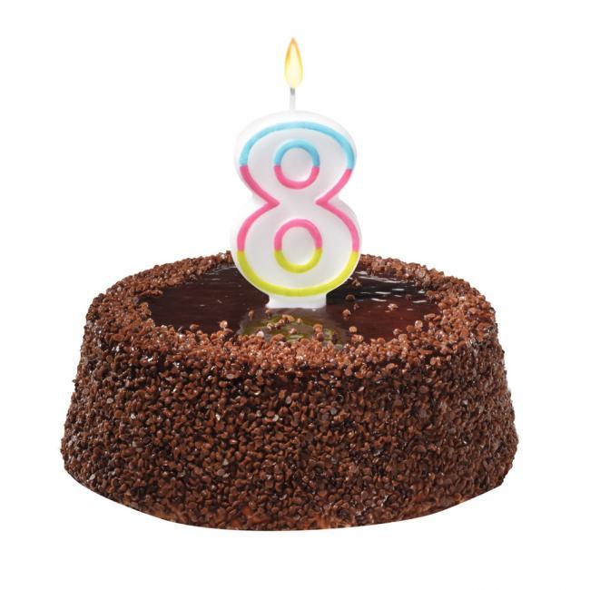 Tortová sviečka číslovka 8