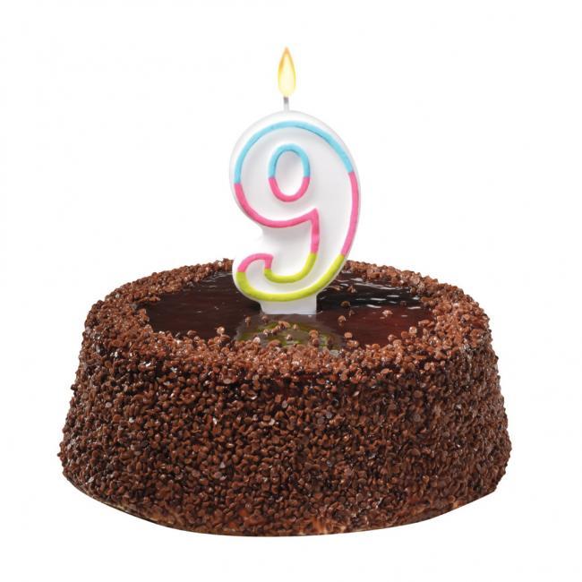 Tortová sviečka číslovka 9
