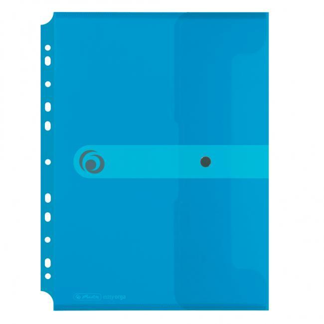 Plastový obal A4 s cvočkom a eurodierovaním Herlitz Easy Orga priehľadný modrý