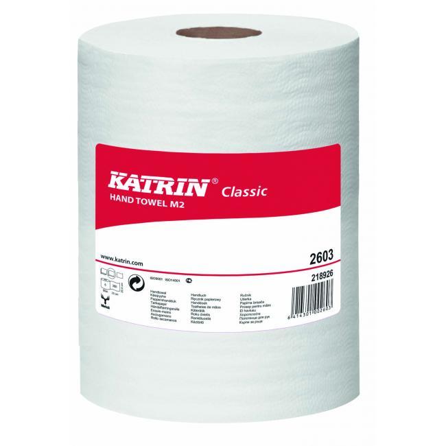Papierové utierky v rolke 2-vrstvové KATRIN Classic Roll M, 90m, 6 ks