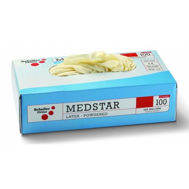 Rukavice MEDSTAR jednorazové latex. nepudrované, biele S 100ks