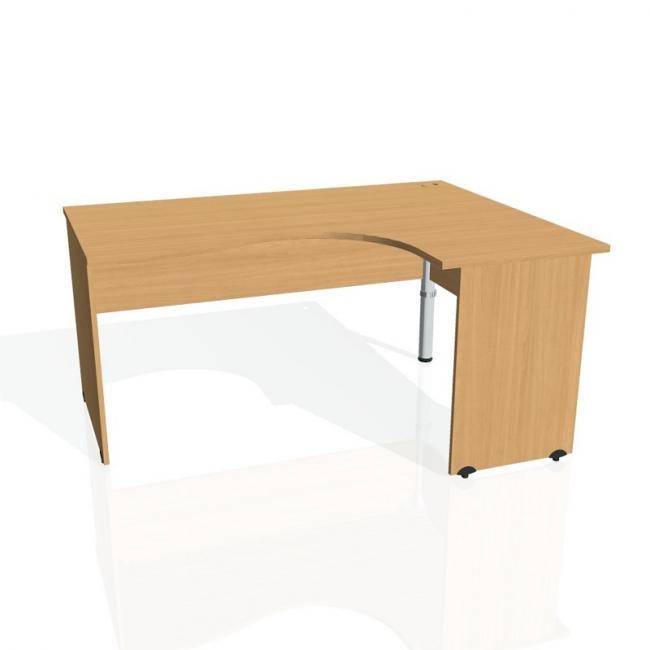 Pracovný stôl Gate, ergo, ľavý, 160x75,5x120 cm, buk/buk