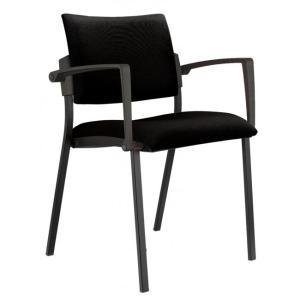 Konferenčná stolička Kubic s podrúčkami čierna